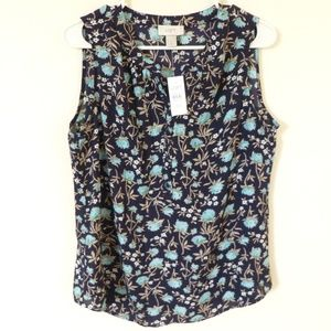 LOFT sleeveless blue floral top